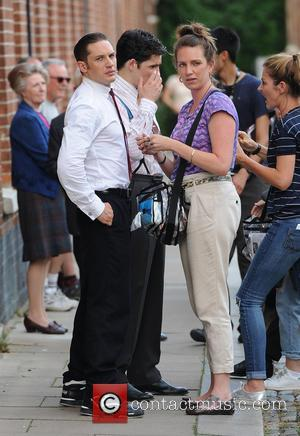 Tom Hardy - Tom Hardy on the set of 'Legend' in East London - London, United Kingdom - Friday 18th...