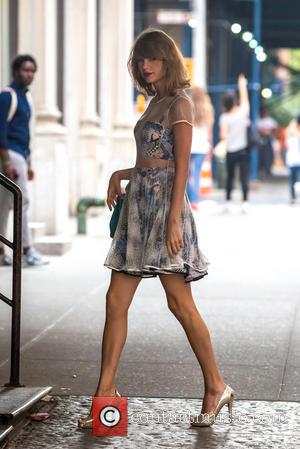 Taylor Swift - Taylor Swift, dressed-to-the-nines in a two-piece textured dress, returns home from the gym - New York City,...
