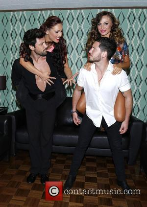 Maksim Chmerkovskiy, Sharna Burgess, Karina Smirnoff and Val Chmerkovskiy - Backstage at Ballroom with a Twist at the NYCB Theatre...