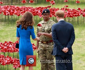 Catherine Duchess of Cambridge, Kate Middleton and Prince Harry - Princes William and Harry, accompanied by Catherine Duchess of Cambridge...