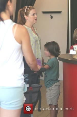 Melissa Joan Hart - Melissa Joan Hart at a nail salon while out and about with her three sons on...
