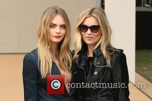 Cara Delevingne and Kate Moss - LFW s/s 2015 - Burberry - Arrivals - London, United Kingdom - Monday 15th...