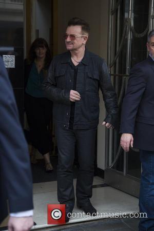 Bono - Irish rockers U2 spotted as they left the Claridge's Hotel in London, United Kingdom - Thursday 16th October...