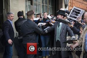 Bono and The Edge - Irish rockers U2 spotted as they left the Claridge's Hotel in London, United Kingdom -...