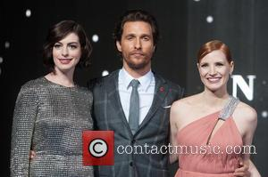 Anne Hathaway, Matthew McConaughey and Jessica Chastain - 'Photographs of the Hollywood stars as they attended the UK Premiere of...
