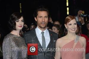 Anne Hathaway, Matthew McConaughey and Jessica Chastain - Photographs of the Hollywood stars as they attended the UK Premiere of...