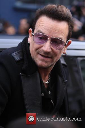 Bono and U2 - Celebrities arrive at the Sarm studios to record the Band Aid 30 single 'Do they Know...