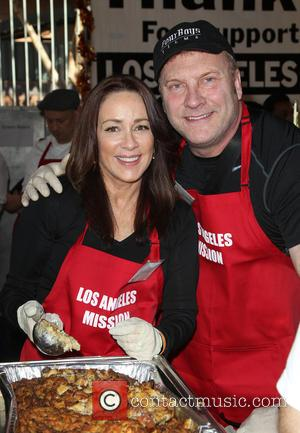 Patricia Heaton and David Hunt - Photographs from LA Mission's Annual Thanksgiving for the Homeless which stars attend to help...