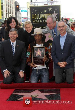 Leron Gubler, Ellen DeGeneres, Pharrell Williams, Tom LaBonge and Mitch O'Farrell - Pharrell Williams honored with a star on the...