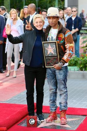 Pharrell Williams and Ellen DeGeneres - American pop star Pharrell Williams was presented with a Hollywood walk of fame star...