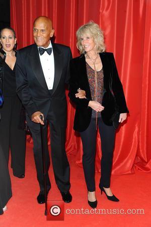 Harry Belafonte and Pamela Frank - Ein Herz fuer Kinder 2014 at Flughafen Tempelhof - Arrivals at Flughafen Tempelhof -...