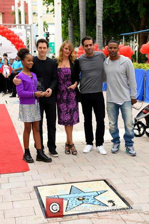 Quvenzhane Wallis, Will Gluck, Cameron Diaz, Bobby Cannavale and Jamie Foxx - Shots from the Annie Miami Walk Of Fame...