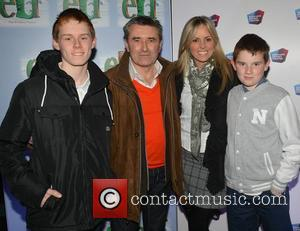Martin King and Jenny McCarthy & sons Matthew & Alex - Opening night of 'Elf the Musical' at The Bord...