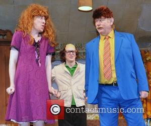 Domhnall Gleeson, Brian Gleeson and Brendan Gleeson - Brendan Gleeson with his two sons, Brian and Domhnall Gleeson in costume...