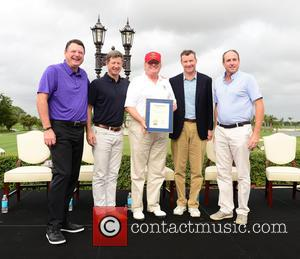 Guest, Gil Hanse, Donald J Trump, Jim Wagner and Matt Ginella - Donald Trump opens Red Tiger Golf Course at...
