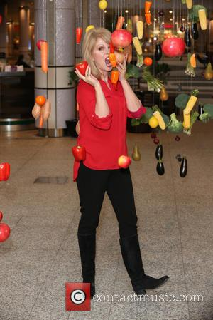 Joanna Lumley - Joanna Lumley unveils a rainbow made out of real fruit and vegetables as part of Marks &...