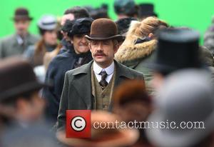 Martin Freeman - Benedict Cumberbatch and Martin Freeman film a scene for the 'Sherlock' christmas special in London - London,...
