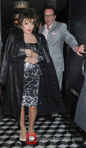 Joan Collins and Percy Gibson - Joan Collins and Percy Gibson leaving Craig's in West Hollywood at West Hollywood -...