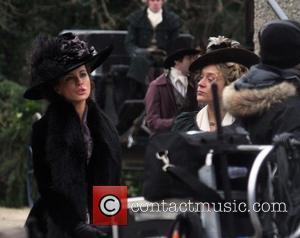 Kate Beckinsale and Chloe Sevigny - ate Beckinsale and Chloe Sevigny on the film set of 'Love and Friendship'. The...