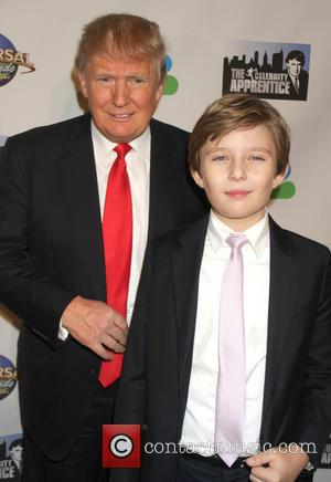 Donald Trumo and Barron Trump - The Celebrity Apprentice Finale held at Trump Tower - Arrivals at Trump Tower -...