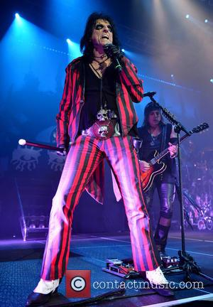 Alice Cooper and Ryan Roxie - Shots of rock legend Alice Cooper as he performed live on stage at Hard...