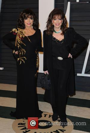 Joan Collins and Jackie Collins - The 87th Annual Oscars - Vanity Fair Oscar Party at Wallis Annenberg Center for...