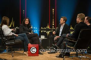 Geri Halliwell, Helen Macdonald, Fredrik Skavlan, Ricky Gervais and Magnus Falkehed - 'Skavlan' television show production images from the London...