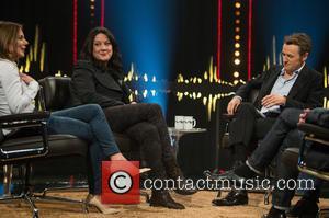 Geri Halliwell, Helen Macdonald and Fredrik Skavlan - 'Skavlan' television show production images from the London Studios. - London, United...
