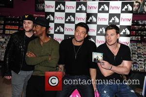 Blue, Antony Costa, Simon Webbe, Duncan James and Lee Ryan - Blue sign copies of their new album 'Colours' at...