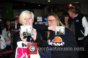 Blue sign copies of their new album 'Colours' at HMV in Birmingham at HMV Bullring Shopping Centre - Birmingham, United...