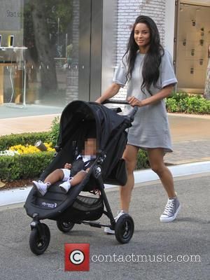 Ciara and Future Jr. - Singer Ciara pushes her son Future in a stroller while shopping at The Grove in...