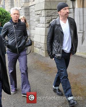 Adam Clayton and Edge - The Funeral of TodayFM DJ Tony Fenton at the Church of the Scared Heart,Donnybrook,Dublin. -...