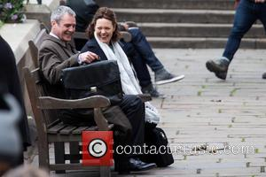 Olivia Colman and Neil Morrissey - Olivia Colman and Neil Morrissey filming the new BBC drama 'The Night Manager' in...