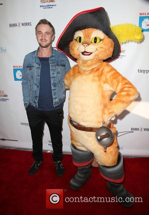 Tom Felton and Puss In Boots