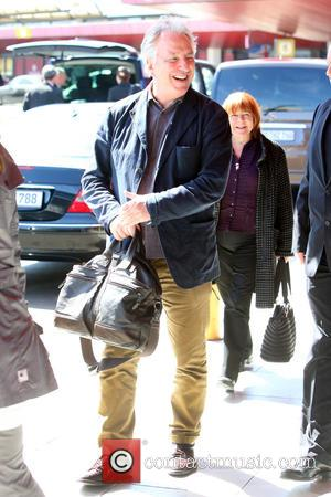 Alan Rickman - Alan Rickman arriving at Tegel airport to promote his new movie A Little Chaos in Germany -...