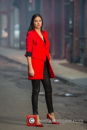 Adriana Lima - Adriana Lima and Gigi Hadid modelling on a photo shoot for Maybelline on the streets of New...