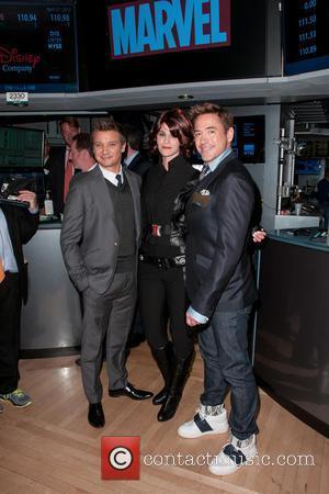 Jeremy Renner and Robert Downey Jr. - New York Stock Exchange Opening Bell Ring In Celebration Of 'Marvel's Avengers: Age...