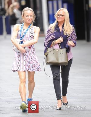 Emma Bunton - Emma Bunton and Lisa Snowdon attend a Global Radio meeting in London - London, United Kingdom -...