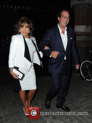 Joan Collins , Percy Gibson - Celebrities outside Chiltern Firehouse at Chiltern Firehouse - London, United Kingdom - Saturday 12th...