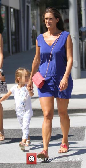 Veronica Berti , Virginia Bocelli - Veronica Berti and her daughter after having lunch with her husband Andrea Bocelli and...
