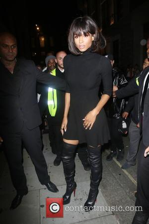 Ciara - Grammy award winning R&B superstar Ciara arriving for her appearance at The Libertine Club in thigh length black...
