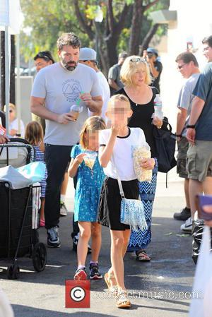 Ben Affleck, Christine Anne Boldt, Violet Affleck , Seraphina Rose Affleck - Ben Affleck and his mother, Christine, take his...