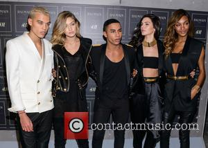 Gigi Hadid, Olivier Rousteing, Kendall Jenner , Jourdan Dunn - Red carpet arrivals at the Balmain x H&M collection launch...