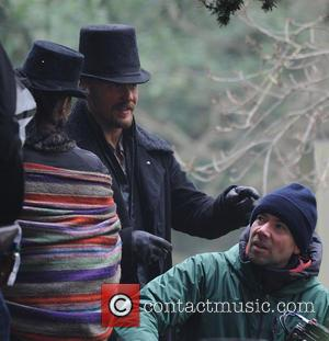 Tom Hardy - Tom Hardy films scenes for TV series 'Taboo' on location at St Marys Church in Wanstead -...