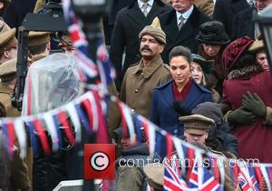 Gal Gadot - Gal Gadot and Lucy Davis film a scene for the movie 'Wonder Woman' in Trafalgar Square at...