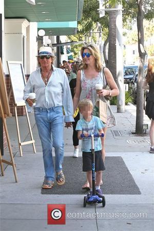 Rod Stewart, Penny Lancaster , Aiden Stewart - Rod Stewart out with wife Penny Lancaster and their son, Aiden on...