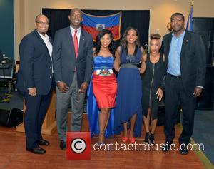 Justice, Saskya Sky, Haiti Minister Of Tourism Guy Didier Hyppolite, City Of Miramar Mayor Wayne Messam, City Of Miramar Commissioner Darline B. Riggs and Haiti Counsul Guy Francois Jr.
