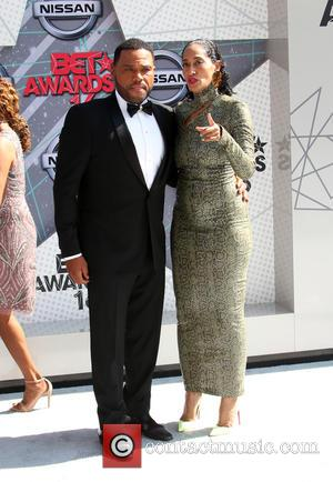 Anthony Anderson seen in black tie dress on the red carpet of the 2016 BET Awards. The actor co-hosted the...