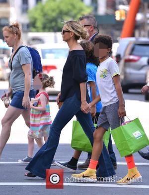 Heidi Klum out and about with her family (Helene Boshoven Samuel, Henry Günther Ademola Dashtu Samuel, Johan Riley Fyodor Taiwo...