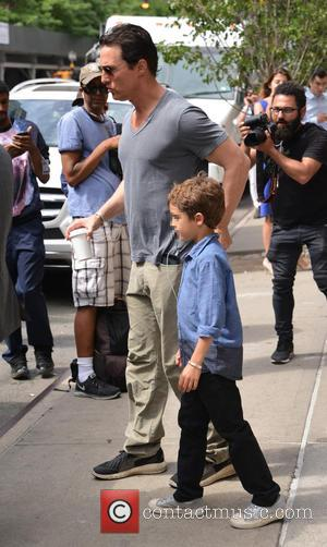 Actor Matthew McConaughey leaves a hotel with his son Levi Alves McConaughey in Manhattan. New York, United States - Tuesday...